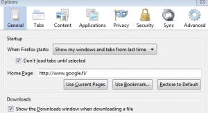 Firefoxin asetuksien Yleinen-välilehti