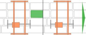 Konttipaikannus, kontti on ruudun ulkopuolella, jolloin suunta esitetään nuolella tai kontti on ruudun alueella, jolloin kontti värjätään