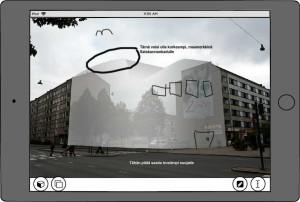 Piirros- ja tekstityökaluilla on tehty merkintöjä havainnekuvaan, muun muassa piirretty lisää ikkunoita. Havainnekuva on osin läpinäkyvä.