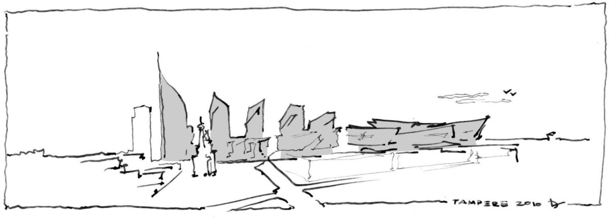 Libeskindin käsin piiretty luonnos Kannesta, sen taloista ja Keskusareenasta