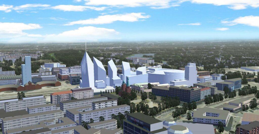Kannen ja sen rakennusten 3D-malli. Kannen rakennukset erottuvat värittöminä muista kaupungin rakennuksista.